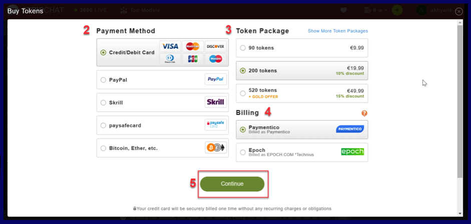 payment methods on StripChat