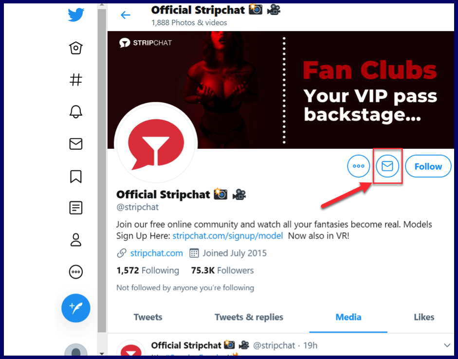 StripChat support in Twitter by direct message