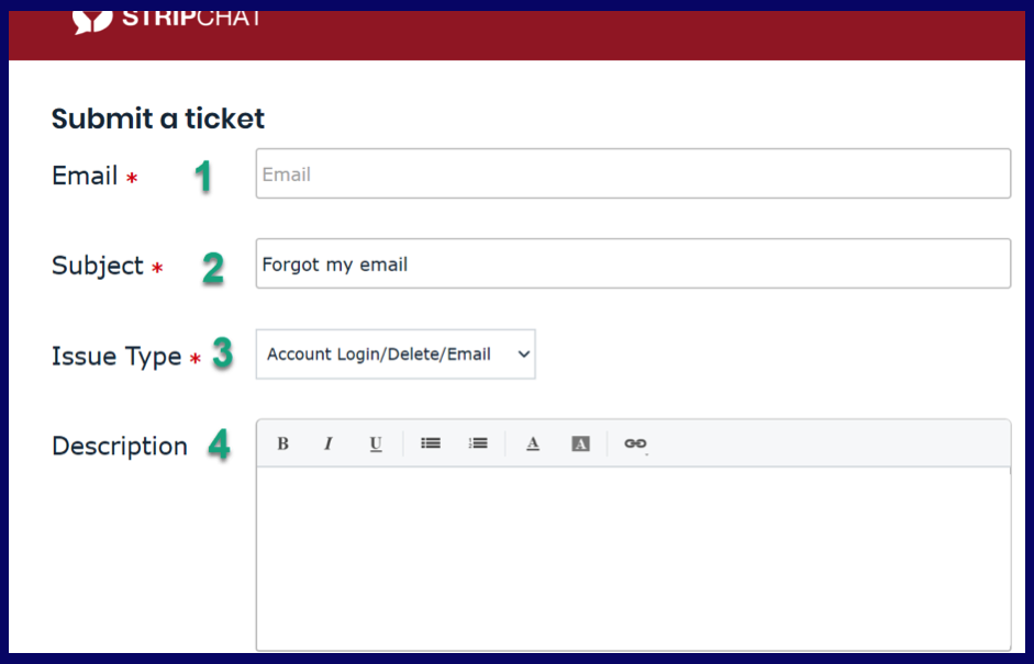 Contact StripChat support to restore email